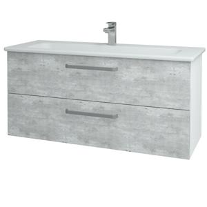 Dřevojas Koupelnová skříň GIO SZZ2 120 N01 Bílá lesk / Úchytka T01 / D01 Beton 129897A
