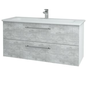 Dřevojas Koupelnová skříň GIO SZZ2 120 N01 Bílá lesk / Úchytka T02 / D01 Beton 129897B