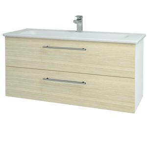 Dřevojas Koupelnová skříň GIO SZZ2 120 N01 Bílá lesk / Úchytka T02 / D04 Dub 129927B