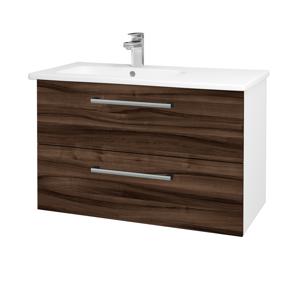Dřevojas Koupelnová skříň GIO SZZ2 90 N01 Bílá lesk / Úchytka T03 / D06 Ořech 202538C
