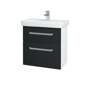 Dřevojas Koupelnová skříň GO SZZ2 60 N01 Bílá lesk / Úchytka T01 / L03 Antracit vysoký lesk 148652A