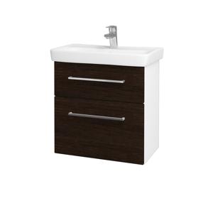 Dřevojas Koupelnová skříň GO SZZ2 60 N01 Bílá lesk / Úchytka T04 / D08 Wenge 28056E