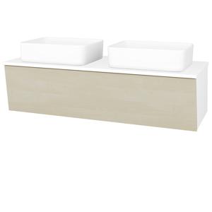 Dřevojas Koupelnová skříň INVENCE SZZ 125 (2 umyvadla Joy) N01 Bílá lesk / D02 Bříza 184865