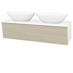 Dřevojas Koupelnová skříň INVENCE SZZ 125 (2 umyvadla Triumph) N01 Bílá lesk / D04 Dub 186623