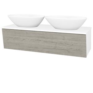 Dřevojas Koupelnová skříň INVENCE SZZ 125 (2 umyvadla Triumph) N01 Bílá lesk / D05 Oregon 186630