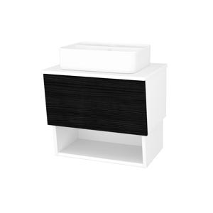 Dřevojas Koupelnová skříň INVENCE SZZO 65 (umyvadlo Joy 2) N01 Bílá lesk / D14 Basalt 177157