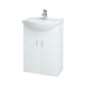 Dřevojas Koupelnová skříň PLUTO SZD2 55 N01 Bílá lesk / N01 Bílá lesk 52327