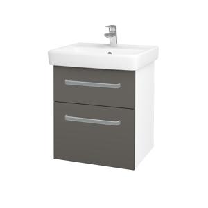 Dřevojas Koupelnová skříň Q MAX SZZ2 55 N01 Bílá lesk / Úchytka T01 / N06 Lava 198091A
