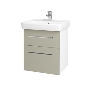 Dřevojas Koupelnová skříň Q MAX SZZ2 55 N01 Bílá lesk / Úchytka T04 / L04 Béžová vysoký lesk 114688E