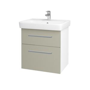 Dřevojas Koupelnová skříň Q MAX SZZ2 60 N01 Bílá lesk / Úchytka T01 / M05 Béžová mat 198213A
