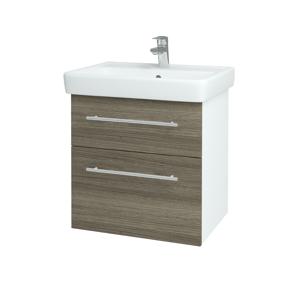Dřevojas Koupelnová skříň Q MAX SZZ2 60 N01 Bílá lesk / Úchytka T02 / D03 Cafe 68403B