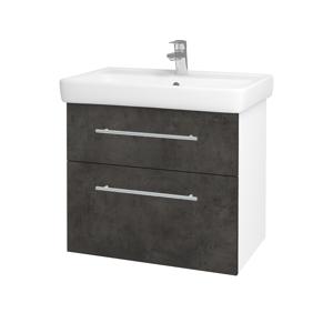 Dřevojas Koupelnová skříň Q MAX SZZ2 70 N01 Bílá lesk / Úchytka T02 / D16 Beton tmavý 198411B
