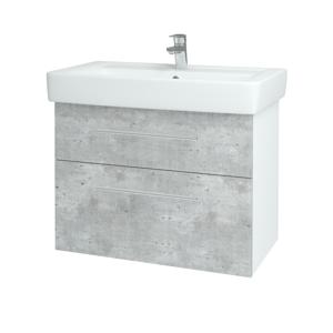 Dřevojas Koupelnová skříň Q MAX SZZ2 80 N01 Bílá lesk / Úchytka T02 / D01 Beton 67505B