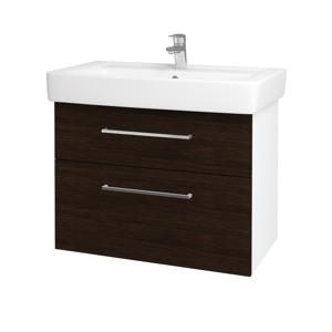 Dřevojas Koupelnová skříň Q MAX SZZ2 80 N01 Bílá lesk / Úchytka T04 / D08 Wenge 60094E