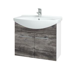 Dřevojas Koupelnová skříň TAKE IT SZD2 75 N01 Bílá lesk / Úchytka T02 / D10 Borovice Jackson 206048B
