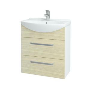 Dřevojas Koupelnová skříň TAKE IT SZZ2 65 N01 Bílá lesk / Úchytka T01 / D04 Dub 152857A