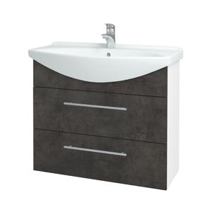 Dřevojas Koupelnová skříň TAKE IT SZZ2 85 N01 Bílá lesk / Úchytka T02 / D16 Beton tmavý 207823B