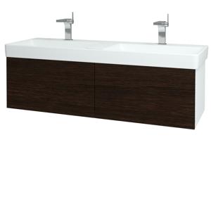 Dřevojas Koupelnová skříň VARIANTE SZZ2 130 N01 Bílá lesk / D08 Wenge 164973