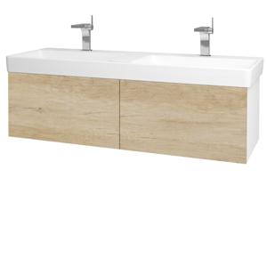 Dřevojas Koupelnová skříň VARIANTE SZZ2 130 N01 Bílá lesk / D15 Nebraska 196035