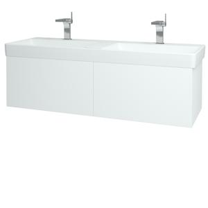 Dřevojas Koupelnová skříň VARIANTE SZZ2 130 N01 Bílá lesk / L01 Bílá vysoký lesk 165017
