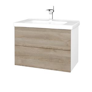 Dřevojas Koupelnová skříň VARIANTE SZZ2 80 (umyvadlo Harmonia) N01 Bílá lesk / D17 Colorado 192402