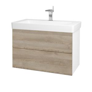 Dřevojas Koupelnová skříň VARIANTE SZZ2 85 N01 Bílá lesk / D17 Colorado 195458