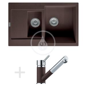 FRANKE Sety Kuchyňský set G74, granitový dřez MRG 651-78, tmavě hnědá + baterie FG 7486, tmavě hnědá 114.0365.409