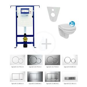 GEBERIT Duofix Modul pro závěsné WC s tlačítkem Sigma01, matný chrom + Ideal Standard Quarzo WC a sedátko 111.355.00.5 ND3