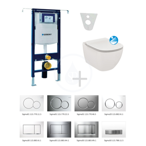 GEBERIT Duofix Modul pro závěsné WC s tlačítkem Sigma30, lesklý chrom/chrom mat + Ideal Standard Tesi WC a sedátko, Rimless, SoftClose 111.355.00.5 NE6