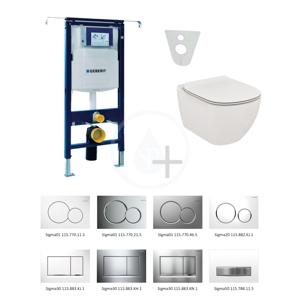GEBERIT Duofix Modul pro závěsné WC s tlačítkem Sigma01, alpská bílá + Ideal Standard Tesi WC a sedátko 111.355.00.5 NF1