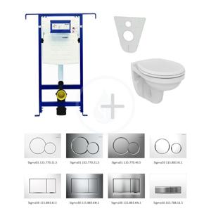 GEBERIT Duofix Modul pro závěsné WC s tlačítkem Sigma30, lesklý chrom/chrom mat + Ideal Standard Quarzo WC a sedátko 111.355.00.5 NR6
