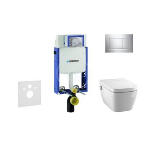 GEBERIT Kombifix Modul pro závěsné WC s tlačítkem Sigma30, lesklý chrom/chrom mat + Tece One sprchovací toaleta a sedátko, Rimless, SoftClose 110.302.00.5 NT6