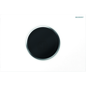 GEBERIT Sigma10 Elektronické ovládací tlačítko pro 2 množství splachování, bateriové napájení, bílá/chrom mat 115.908.KL.1