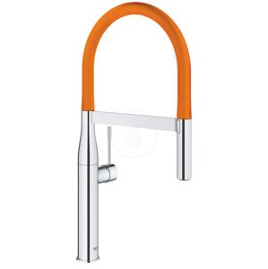 GROHE Essence Dřezová baterie s flexibilním ramenem, chrom/oranžová 124974