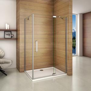 H K Čtvercový sprchový kout AIRLINE A1 90 cm s jednokřídlými dveřmi s pevnou stěnou včetně sprchové vaničky z litého mramoru SE-AIRLINEA190/THOR-90SQ