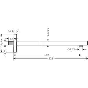 HANSGROHE Příslušenství Sprchové rameno 389 mm, matná bílá 27694700