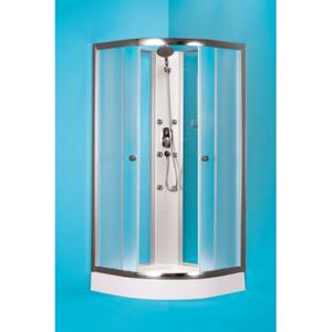HOPA Čtvrtkruhový sprchový box GRANADA 185 cm, 90 cm × 90 cm, Univerzální, Hliník chrom, Matné bezpečnostní sklo 5 mm, Standard bez vaničky OLBGRA90CMBV
