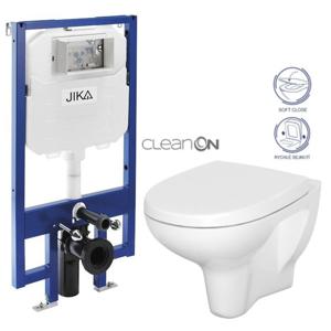 JIKA předstěnový instalační 8 cm systém bez tlačítka + WC CERSANIT ARTECO CLEANON + SEDÁTKO H894652 X AT1