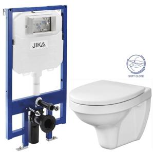 JIKA předstěnový instalační 8 cm systém bez tlačítka + WC CERSANIT DELFI + SOFT SEDÁTKO H894652 X DE2