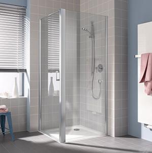 Kermi Boční stěna Cada XS TWD 04020 360-410/2000 stříbrná vys.lesk ESG čiré Clean boční stěna CCTWD04020VPK