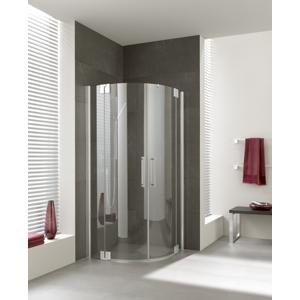 Kermi Čtvrtkruh Pasa XP P55 10118 970-1000/1850 stříbrná matná ESG čiré Clean Čtvrtkruhový sprch. kout kyvné dveře s pevnými poli PXP55101181PK