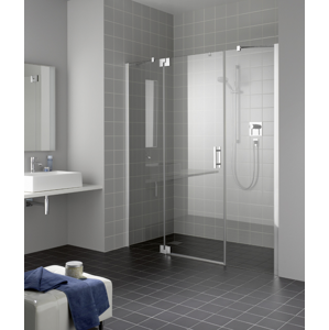 Kermi Kyvné dveře Filia XP 1GR 13020 1260-1310/2000 stříbrná vys.lesk ESG čiré Clean 1-křídlé kyvné dveře s p. poli panty vpravo FX1GR13020VPK