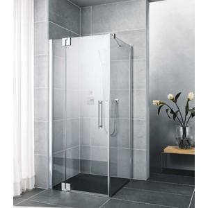 Kermi Kyvné dveře Pasa XP 1WR 09020 870-900/2000 stříbrná matná ESG čiré 1-křídlé kyvné dveře s p. polem pro boční stěnu/zkrácenou boční stěnu PX1WR090201AK