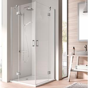 Kermi OSIA stříbrná lesk 2D RV levá 1/2 (otočné dveře) 900/2000 čiré sklo s OsiaClean OSESL09020VPK OSESL09020VPK