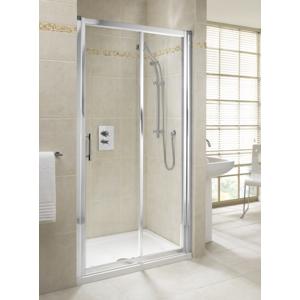 KOLO Geo6 RFX posuvné dveře 100x190 skloČiré s Reflexem, stříbrné lesklé GDRS10R22003 GDRS10R22003