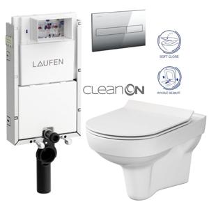 LAUFEN Podomít. systém LIS TW1 SET s chromovým tlačítkem + WC CERSANIT CITY NEW CLEANON + WC SEDÁTKO SLIM H8946630000001CR CI2