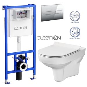 LAUFEN Rámový podomítkový modul CW1 SET s chromovým tlačítkem + WC CERSANIT CITY NEW CLEANON + WC SEDÁTKO SLIM H8946600000001CR CI2