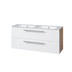 MEREO Koupelnová skříňka s keramickým dvoumyvadlem 120 cm, bílá/dub CN673
