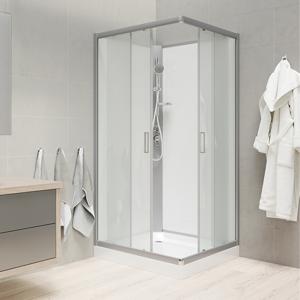 MEREO Sprchový box, čtvercový, 90 cm, profily satin, sklo Point, záda bílá, SMC vanička, bez stříšky CK34122BW