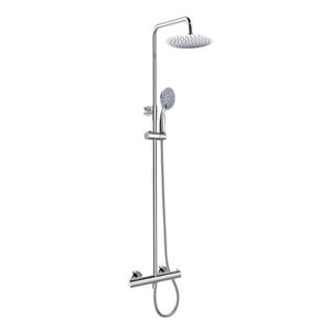 MEREO Termostatická nástěnná sprchová baterie s hadicí, ruční a talířovou kulatou sprchou slim 200 mm CB60104TSC